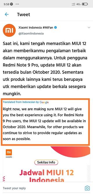 MIUI 12 для Redmi Note 9 Pro теперь обещают в октябре
