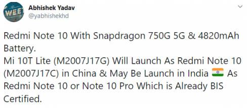 Смартфон Redmi Note 10 представят в октябре