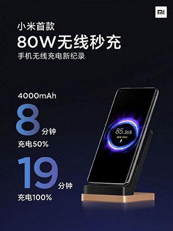 Xiaomi представила беспроводную зарядку мощностью 80 Вт