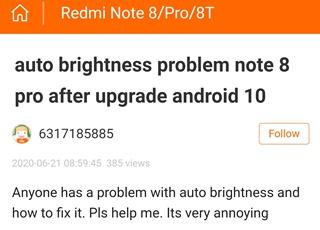 Проблему с автояркостью в Redmi Note 8 Pro обещают решить