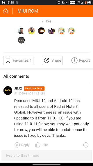 Проблему с OTA-обновлением Redmi Note 8 обещают оперативно решить