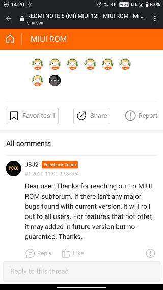В MIUI 12 для Redmi Note 8 могут добавить недостающие функции