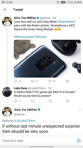 Европейская прошивка MIUI 12 для Redmi Note 9 уже скоро