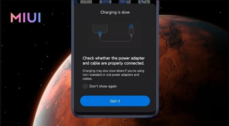 MIUI 12 сообщит о медленной зарядке смартфона