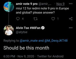 Европейскую MIUI 12 для Redmi Note 9 Pro обещают в ноябре