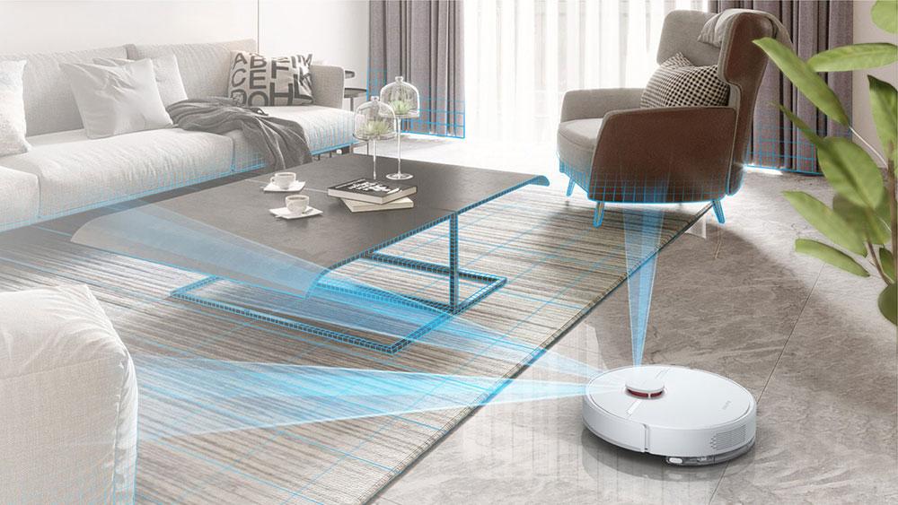 Робот-пылесос Xiaomi Dreame D9 Robot Vacuum сканирует местность