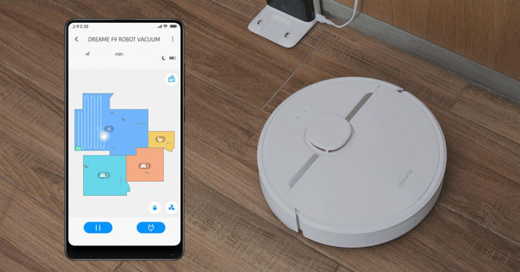Робот-пылесос Xiaomi Dreame D9 Robot Vacuum управляется через приложение